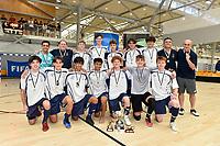 Tauranga Boys College pose after winning first place in the Futsal NZ Secondary Schools Senior Boys Final between Wellington College and Tauranga Boys' College at ASB Sports Centre, Wellington on 26 March 2021.<br /> Copyright photo: Masanori Udagawa /  www.photosport.nz
