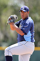 Tampa Bay Rays Albert Suarez #50 during a spring training game against the Baltimore Orioles at the Buck O'Neil Complex on March 21, 2012 in Sarasota, Florida.  (Mike Janes/Four Seam Images)
