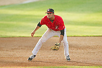 Kannapolis Intimidators third baseman Nick Basto (27) on defense against the Greensboro Grasshoppers at CMC-Northeast Stadium on July 13, 2013 in Kannapolis, North Carolina.  The Intimidators defeated the Grasshoppers 7-5.   (Brian Westerholt/Four Seam Images)