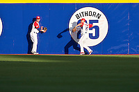 11 March 2009: #15 Carlos Beltran of Puerto Rico throws the ball next to #23 Jesus Feliciano during the 2009 World Baseball Classic Pool D game 6 at Hiram Bithorn Stadium in San Juan, Puerto Rico. Puerto Rico wins 5-0 over the Netherlands