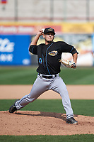 Akron RubberDucks relief pitcher Cameron Hill (10) delivers a warmup pitch during a game against the Erie SeaWolves on August 27, 2017 at UPMC Park in Erie, Pennsylvania.  Akron defeated Erie 6-4.  (Mike Janes/Four Seam Images)