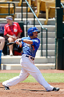 Omar Quintanilla #3 of the Las Vegas 51s bats against the Salt Lake Bees at Cashman Field on May 27, 2013 in Las Vegas, Nevada. Las Vegas defeated Salt Lake, 9-7. (Larry Goren/Four Seam Images)