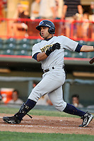 Trenton Thunder Outfielder Edwar Gonzalez (25) during a game vs. the Erie Seawolves at Jerry Uht Park in Erie, Pennsylvania;  June 23, 2010.   Trenton defeated Erie 12-7  Photo By Mike Janes/Four Seam Images