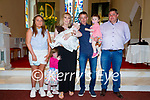 Baby Gemma Rose Goggin who was christened at St Michael The Archangel's Church in Dun Geagan, Ballinskelligs on Saturday pictured here l-r; Eimear O'Neill(Godmother), Zara, Nathalie, Gemma Rose, Tony & Zoey Goggin with Adrian Curran(Godfather).