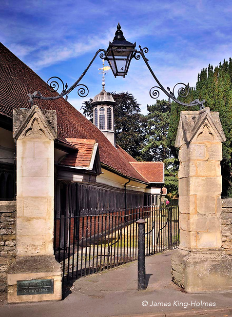 Gateway to the Long Alley Almshouses in Abingdon, Oxfordshire, UK, parts of which were built in the 15th & 16th centuries. They dwellings were founded  by the medieval Fraternity of the Holy Cross which started the building work in 1446/47 and are now administered by the Christ's Hospital charity, founded in 1553. The almshouses continue to be occupied by elderly residents of the local area. Abingdon was situated in the county of Berkshire, but under  local government re-organisation in 1974 it was transferred to Oxfordshire.