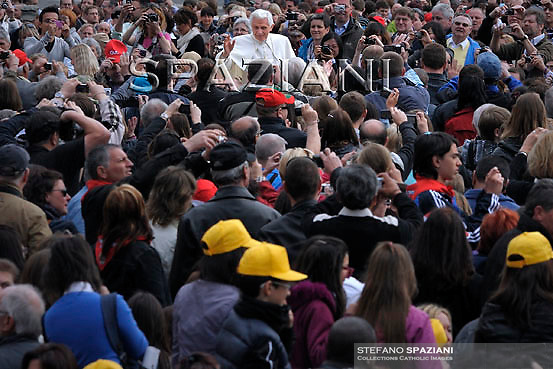 Pope Benedict XVI during his weekly general audience in St. Peter square at the Vatican, Wednesday. April. 6, 2011