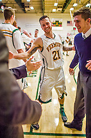 4 February 2014: University of Vermont Catamount Guard Candon Rusin, a Senior from Wilmington, VT, smiles off court during a game against the University of Maine Black Bears at Patrick Gymnasium in Burlington, Vermont. The Cats defeated the Bears 93-65 improving to 9-1 in America East and 15-9 overall. Mandatory Credit: Ed Wolfstein Photo *** RAW (NEF) Image File Available ***