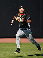 Lakeland Dreadnaughts outfielder Juan Leopoldo Rodriguez (20) tracks a fly ball during a game against the IMG Academy Ascenders on February 20, 2021 at IMG Academy in Bradenton, Florida.  (Mike Janes/Four Seam Images)