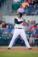 Arkansas Travelers designated hitter Dario Pizzano (19) at bat during a game against the Midland RockHounds on May 25, 2017 at Dickey-Stephens Park in Little Rock, Arkansas.  Midland defeated Arkansas 8-1.  (Mike Janes/Four Seam Images)