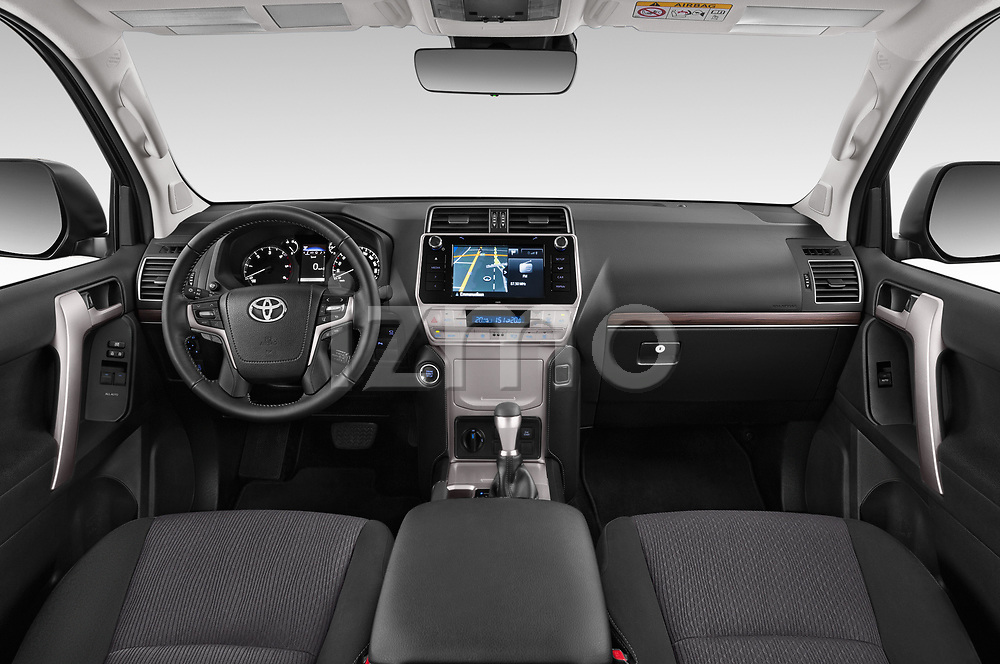Stock photo of straight dashboard view of 2018 Toyota Land-Cruiser-150 Style 3 Door SUV Dashboard