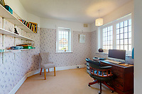 BNPS.co.uk (01202 558833)<br /> Pic: Savills/BNPS<br /> <br /> Pictured: The study.<br /> <br /> A clifftop home with breathtaking panoramic sea views is on the market for £3.25m.<br /> <br /> Sandpierre also has a private swimming pool and a viewing platform overlooking the beach with 180-degree views of the water. <br /> <br /> The six-bedroom family home is on the Bournemouth/Poole coastline in Dorset and is being sold for the first time in 25 years.<br /> <br /> The house was built in the 1930s and is in a quiet cul-de-sac in Branksome Dene Chine - midway between the town centres of Bournemouth and Poole.