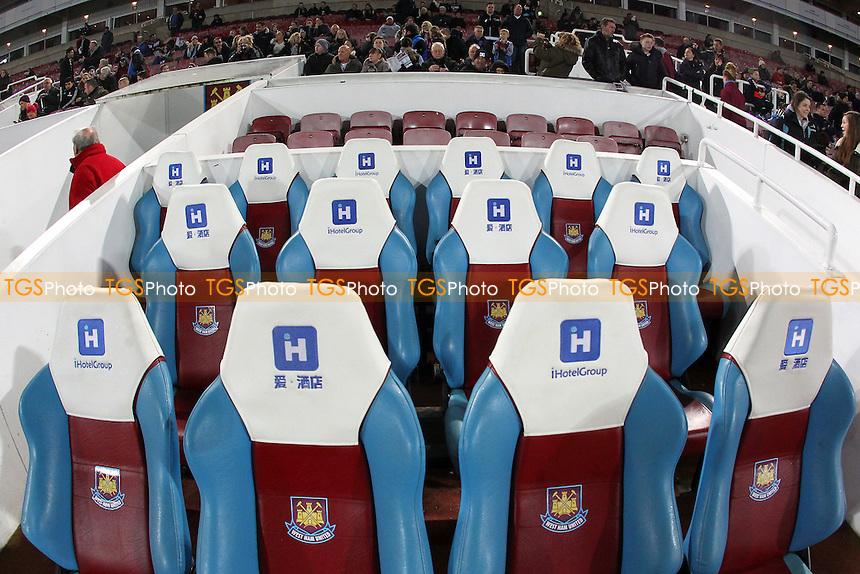 General view of the dugout ahead of West Ham United Ladies vs Tottenham Hotspur Ladies, FA Women's Premier League Football at the Boleyn Ground, Upton Park
