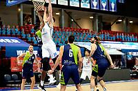 10-04-2021: Basketbal: Donar Groningen v ZZ Leiden: Groningen, Donar speler Willem Brandwijk in duel met Leiden speler Emmanuel Nzekwesi