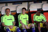 Valencia, Spain. Thursday 19 September 2013<br /> Pictured: (L-R) Garry Monk, Ben Davies, Wayne Routledge.<br /> Re: UEFA Europa League game against Valencia C.F v Swansea City FC, at the Estadio Mestalla, Spain,