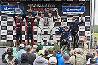 #23 Fast MD Racing Audi RS3 LMS TCR DSG, TCR: Nick Galante, James Vance, Nick Galante, #21 Byan Herta Autosport W Curb-Agajanian Hyundai Veloster N TCR, TCR: Mason Filippi, Harry Gottsacker, #54 JDC-Miller MotorSports Audi RS3 LMS TCR DSG, TCR: Michael Johnson, Stephen Simpson celebrate the win on the podium