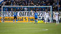 SAN JOSE, CA - MAY 15: The penalty kick of Chris Wondolowski #8 of the San Jose Earthquakes is saved by Logan Ketterer #30 of the Portland Timbers during a game between San Jose Earthquakes and Portland Timbers at PayPal Park on May 15, 2021 in San Jose, California.