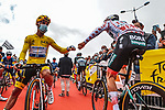 Yellow Jersey Julian Alaphilippe (FRA) Deceuninck-Quick Step greets Polka Dot Jersey Ide Schelling (NED) Bora-Hansgrohe at sign on before Stage 2 of the 2021 Tour de France, running 183.5km from Perros-Guirec to Mur-de-Bretagne Guerledan, France. 27th June 2021.  <br /> Picture: A.S.O./Charly Lopez   Cyclefile<br /> <br /> All photos usage must carry mandatory copyright credit (© Cyclefile   A.S.O./Charly Lopez)