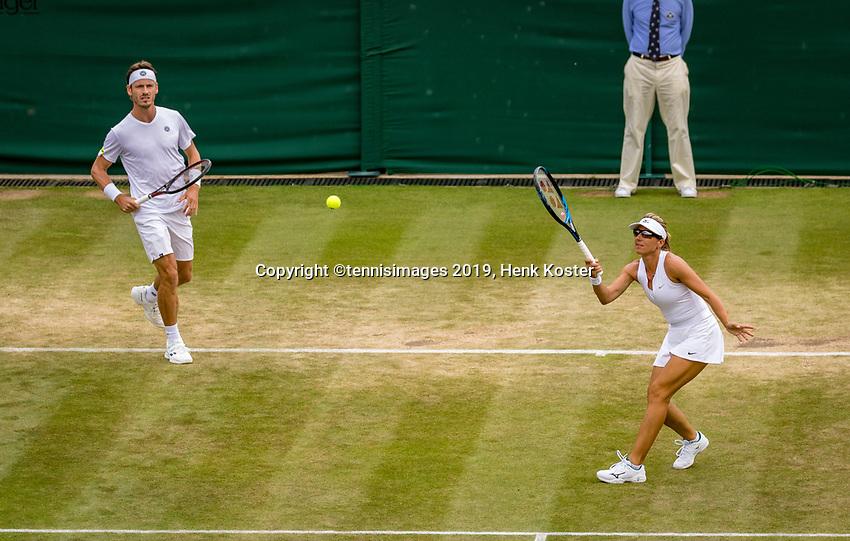 London, England, 11 July, 2019, Tennis,  Wimbledon, Mixed doubles: Kveta Peschke (CZE) and Wesley Koolhof (NED)<br /> Photo: Henk Koster/tennisimages.com