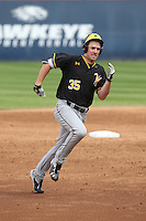 Josh DeBacker (35) of the Wichita State Shockers runs the bases during a game against the Cal State Fullerton Titans at Goodwin Field on March 13, 2016 in Fullerton, California. Cal State Fullerton defeated Wichita State, 7-1. (Larry Goren/Four Seam Images)