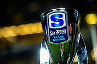 The trophy on display before the Super Rugby Tran-Tasman final between the Blues and Highlanders at Eden Park in Auckland, New Zealand on Saturday, 19 June 2020. Photo: Dave Lintott / lintottphoto.co.nz