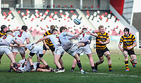 Tuesday 3rd March 2020 | RSA vs RBAI<br /> <br /> Armagh scrum half Charlie Worth clears his line during the Ulster Schools' Cup Semi-Final between Royal School Armagh and RBAI at Kingspan Stadium, Ravenhill Park, Belfast, Northern Ireland. Photo by John Dickson / DICKSONDIGITAL