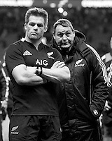 Steve Hansen, New Zealand Coach, talks to Richie McCaw of New Zealand after losing the QBE Autumn International match between England and New Zealand at Twickenham on Saturday 01 December 2012 (Photo by Rob Munro)