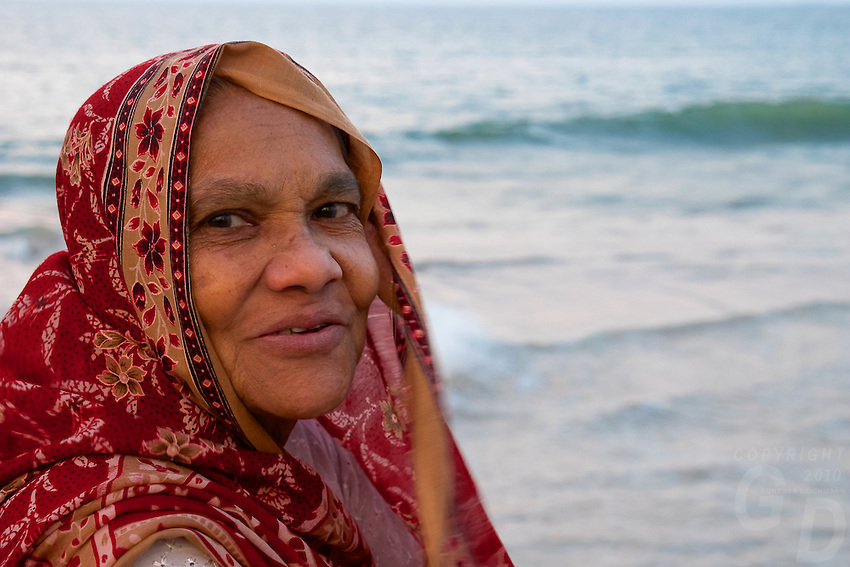 This old lady enjoying the afternoon breeze at the Colombo Shoreline, Sri Lanka