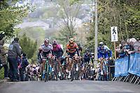 first passage of the women elite on the Mur de Huy<br /> <br /> La Flèche Wallonne Feminine 2017 (1.WWT)<br /> One Day Race: Huy › Mur de Huy (120km)