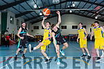 Ivan Bogdanovic Garveys Tralee warriors and  Conor Gilligan DCU clash during their game in Castleisland on Saturday night