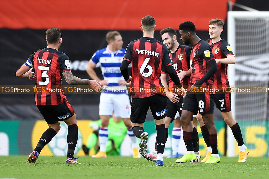 Lewis Cook of AFC Bournemouth middle is congratulated on scoring the third goal during AFC Bournemouth vs Reading, Sky Bet EFL Championship Football at the Vitality Stadium on 21st November 2020