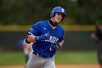 Indiana State Sycamores Max Wright (12) rounds the bases after hitting a home run during the teams opening game of the season against the Pitt Panthers on February 19, 2021 at North Charlotte Regional Park in Port Charlotte, Florida.  (Mike Janes/Four Seam Images)