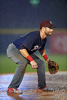 Lehigh Valley IronPigs third baseman Taylor Featherston (6) during a game against the Buffalo Bisons on July 9, 2016 at Coca-Cola Field in Buffalo, New York.  Lehigh Valley defeated Buffalo 9-1 in a rain shortened game.  (Mike Janes/Four Seam Images)