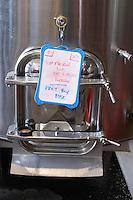 tank door sign on tank vin de pays ready to bottle rose chateau de nages rhone france