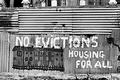 Squatted houses in Villa Road, Brixton, London, 1977.