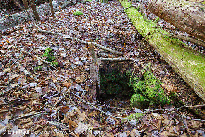 Remnants of possibly a dug well (could also being septic) at the abandoned Peeling settlement (Mt. Cilley Settlement) in Woodstock, New Hampshire. Peeling was the original settlement of Woodstock, and this village was abandoned by the 1860s.