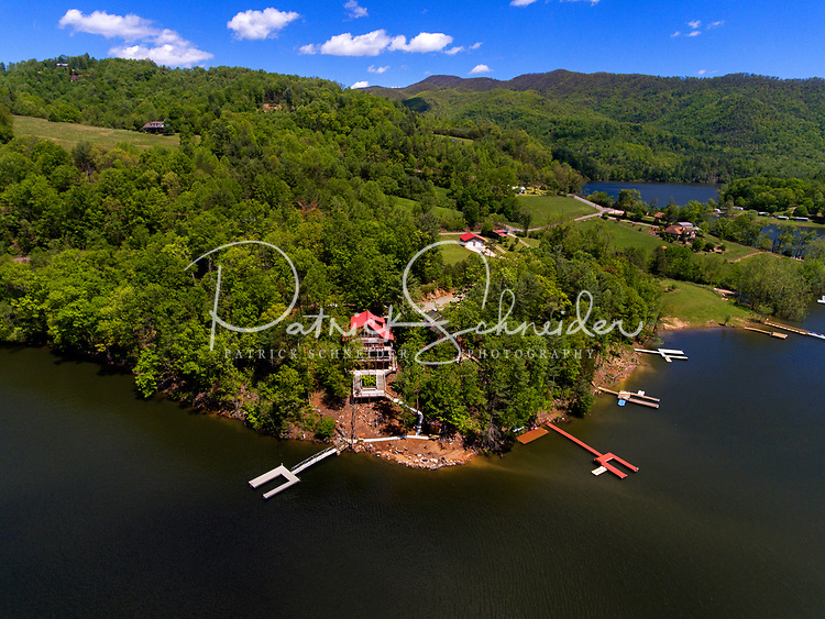 Aerial photography of Watauga Lake in Butler, Tennessee. <br /> The Watauga Reservoir created by the Tennessee Valley Authority <br /> <br /> Charlotte Photographer - PatrickSchneiderPhoto.com
