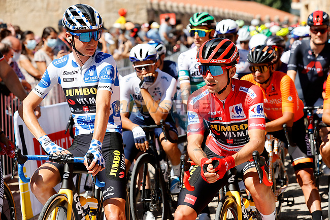 Team mates Polka Dot Jersey Sepp Kuss (USA) and Red Jersey Primoz Roglic (SLO) Jumbo-Visma ready to start Stage 3 of La Vuelta d'Espana 2021, running 202.8km from Santo Domingo de Silos to Picon Blanco, Spain. 16th August 2021.    <br /> Picture: Luis Angel Gomez/Photogomezsport | Cyclefile<br /> <br /> All photos usage must carry mandatory copyright credit (© Cyclefile | Luis Angel Gomez/Photogomezsport)