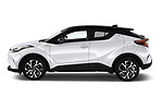 Car driver side profile view of a 2018 Toyota C-HR C-LUB hybrid 5 Door SUV