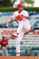 Pitcher Lu Jiangang (17) of the China National Team during a game vs. the Houston Astros Instructional League team at Holman Stadium in Vero Beach, Florida September 28, 2010.   China is in Florida training for the Asia games which will be played in Guangzhou, China in November.  Photo By Mike Janes/Four Seam Images