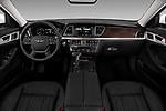 Stock photo of straight dashboard view of a 2018 Genesis G80 RWD 4 Door Sedan