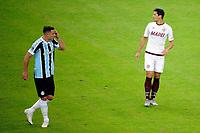 PORTO ALEGRE, RS, 13.05.2021 - GREMIO - LANUS - O zagueiro Guilhermo Burdisso, da equipe do Lanús, comemora o seu gol, na partida entre Grêmio e Lanús, pela quarta rodada do Grupo H, da Copa Sul-Americana 2021, no estádio Arena do Grêmio, em Porto Alegre, nesta quinta-feira (13).