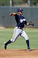 Milwaukee Brewers minor league infielder Alfredo Rodriguez #18 during an instructional league game against the Cincinnati Reds at Maryvale Baseball Park on October 3, 2012 in Phoenix, Arizona.  (Mike Janes/Four Seam Images)
