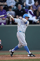 Beau Amaral #25 of the UCLA Bruins bats against the TCU Horned Frogs at the Los Angeles super regionals at Jackie Robinson Stadium on June 9, 2012 in Los Angeles,California. UCLA defeated TCU 4-1.(Larry Goren/Four Seam Images)