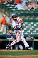 Baltimore Orioles shortstop Richie Martin (82) swings at a pitch during a Grapefruit League Spring Training game against the Tampa Bay Rays on March 1, 2019 at Ed Smith Stadium in Sarasota, Florida.  Rays defeated the Orioles 10-5.  (Mike Janes/Four Seam Images)