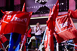 Prime Minister of Spain, Pedro Sanchez addresses supporters as they wave flags in the air outside of the PSOE (Spanish Socialist Workers's Party) headquarters in Madrid, Spain. Spaniards go to the polls to elect 350 members of the parliament and 208 senators this Sunday. This will be the 13th General Election since the transition to democracy resulting in the Constitution of 1978. There are five main parties: the two traditional parties are the right-wing Partido Popular (People's Party) and the centre-left Partido Socialista Obrero Espanol or PSOE (Spanish Socialist Workers's Party), along with right-wing parties Ciudadanos (Citizens) and VOX and the left wing party, Podemos (We Can). April 28, 2019.April 28, 2019. (ALTERPHOTOS/A. Perez Meca)