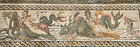 Picture of a Roman mosaics design depicting Orpheus, god of museic surrounded by animals charmed by his music, from the ancient Roman city of Thysdrus. 2nd century AD. El Djem Archaeological Museum, El Djem, Tunisia.
