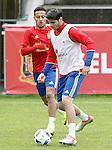 Spain's Alvaro Morata (r) and Thiago Alcantara during preparing training stage to Euro 2016. May 30,2016.(ALTERPHOTOS/Acero)
