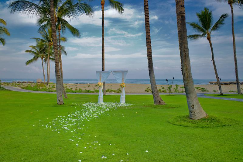 Wedding area and ocean. Four Seasons Resort. Hawaii, The Big Island.
