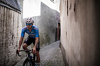 Zico Waeytens  (BEL/Veranda's Willems Crelan) returning to the teambus through a small alley behind the finish zone after the race. <br /> <br /> Binckbank Tour 2018 (UCI World Tour)<br /> Stage 7: Lac de l'eau d'heure (BE) - Geraardsbergen (BE) 212.7km