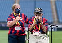 EAST HARTFORD, CT - JULY 5: Pete DuPre plays the harmonica at sound check during a game between Mexico and USWNT at Rentschler Field on July 5, 2021 in East Hartford, Connecticut.